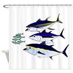 Three Tuna Chase Sardines fish Shower Curtain