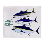 Three Tuna Chase Sardines fish Throw Blanket