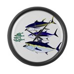 Three Tuna Chase Sardines fish Large Wall Clock