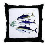 Three Tuna Chase Sardines fish Throw Pillow