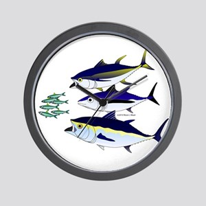 Three Tuna Chase Sardines fish Wall Clock