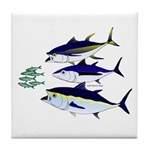 Three Tuna Chase Sardines fish Tile Coaster