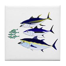 Three Tuna Chase Sardines fish Tile Coaster