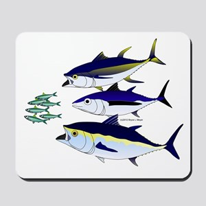 Three Tuna Chase Sardines fish Mousepad