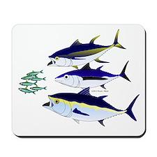 Three Tuna Chase Sardines fish Mousepad
