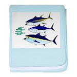 Three Tuna Chase Sardines fish baby blanket