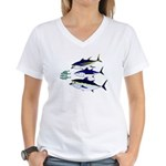 Three Tuna Chase Sardines fish Women's V-Neck T-Sh