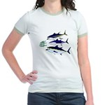 Three Tuna Chase Sardines fish Jr. Ringer T-Shirt