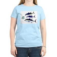 Three Tuna Chase Sardines fish Women's Light T-Shi