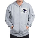 Three Tuna Chase Sardines fish Zip Hoodie