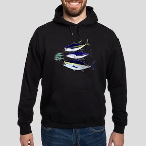 Three Tuna Chase Sardines fish Hoodie (dark)