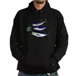 Three Tuna Chase Sardines fish Hoodie (dark)
