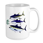 Three Tuna Chase Sardines fish Large Mug
