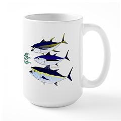 Three Tuna Chase Sardines fish Large Mug
