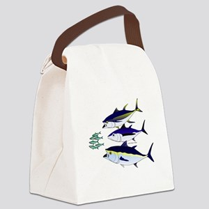 Three Tuna Chase Sardines fish Canvas Lunch Bag