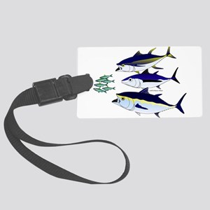 Three Tuna Chase Sardines fish Large Luggage Tag