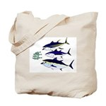 Three Tuna Chase Sardines fish Tote Bag
