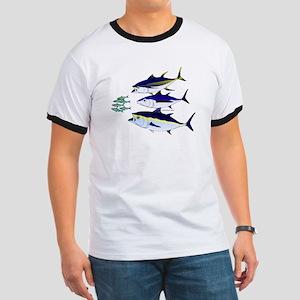 Three Tuna Chase Sardines fish Ringer T