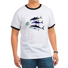 Three Tuna Chase Sardines fish Ringer T