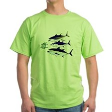 Three Tuna Chase Sardines fish Green T-Shirt