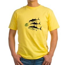 Three Tuna Chase Sardines fish Yellow T-Shirt