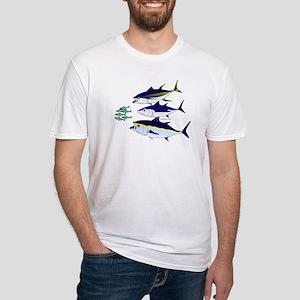Three Tuna Chase Sardines fish Fitted T-Shirt