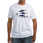 Three Tuna Chase Sardines fish Fitted T-Shirt