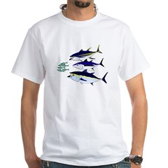 Three Tuna Chase Sardines fish White T-Shirt