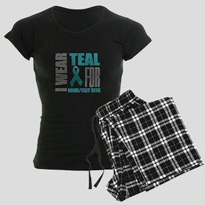 Teal Awareness Ribbon Custom Women's Dark Pajamas