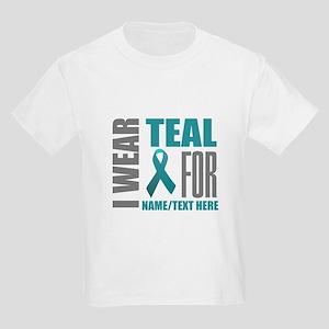 Teal Awareness Ribbon Customize Kids Light T-Shirt