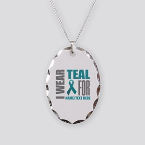 Teal Awareness Ribbon Customiz Necklace Oval Charm