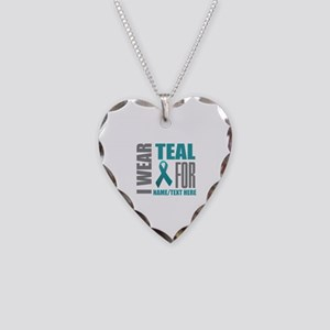 Teal Awareness Ribbon Customi Necklace Heart Charm