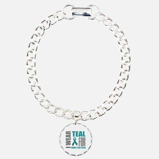 Teal Awareness Ribbon Cu Bracelet