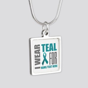 Teal Awareness Ribbon Cust Silver Square Necklace