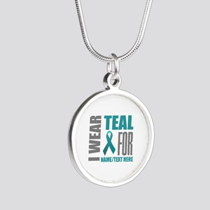 Teal Awareness Ribbon Custom Silver Round Necklace