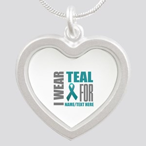 Teal Awareness Ribbon Custom Silver Heart Necklace