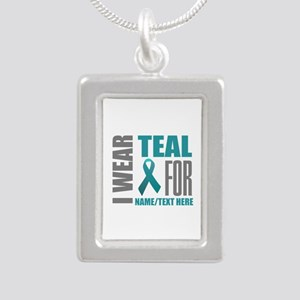 Teal Awareness Ribbon Cu Silver Portrait Necklace
