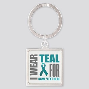 Teal Awareness Ribbon Customized Square Keychain