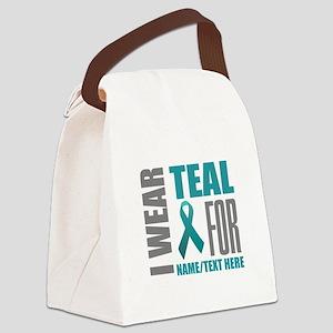 Teal Awareness Ribbon Customized Canvas Lunch Bag