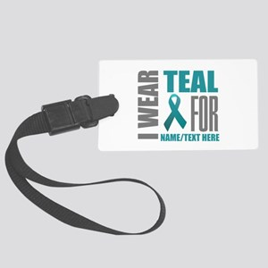 Teal Awareness Ribbon Customized Large Luggage Tag