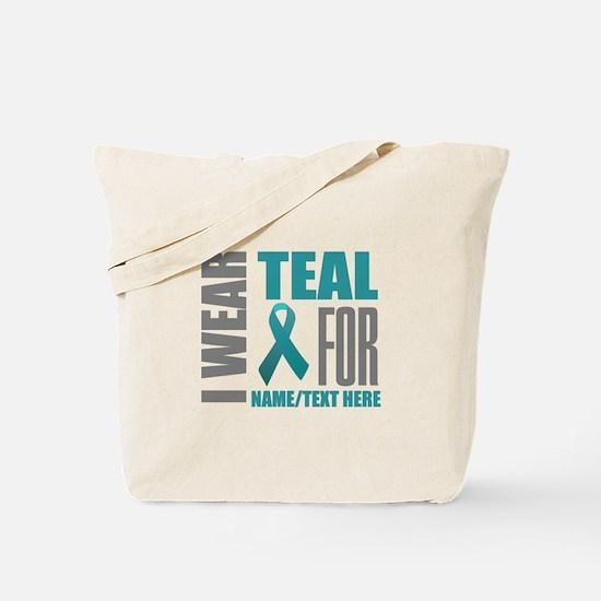Teal Awareness Ribbon Customized Tote Bag