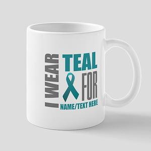 Teal Awareness Ribbon Customized 11 oz Ceramic Mug