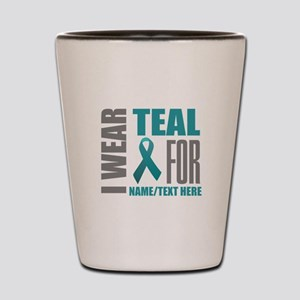 Teal Awareness Ribbon Customized Shot Glass