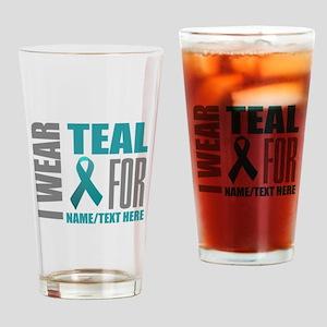 Teal Awareness Ribbon Customized Drinking Glass