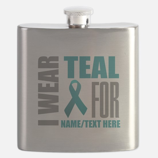 Teal Awareness Ribbon Customized Flask