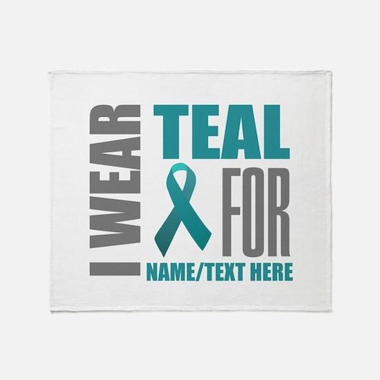 Teal Awareness Ribbon Customized Throw Blanket