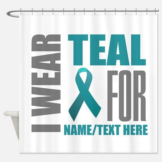 Teal Awareness Ribbon Customized Shower Curtain