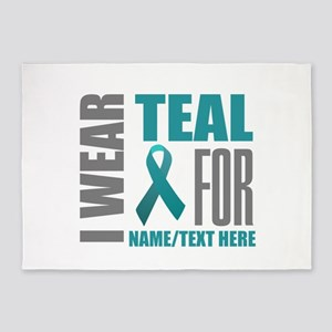 Teal Awareness Ribbon Customized 5'x7'Area Rug