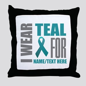 Teal Awareness Ribbon Customized Throw Pillow