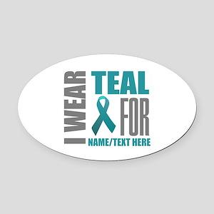 Teal Awareness Ribbon Customized Oval Car Magnet